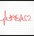 Heartbeat with a unity symbol in line vector image