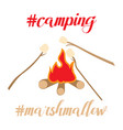 camping icon with bonfire and grill marshmallow vector image