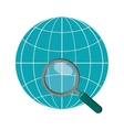 earth globe diagram and magnifying glass icon vector image