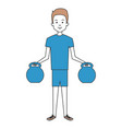 man lifting weights character vector image