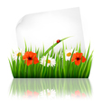 Nature background with grass and a sheet of paper vector image