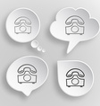 Old phone White flat buttons on gray background vector image
