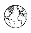 sketch globe world earth map icon vector image