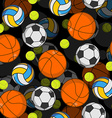 Sports ball 3d seamless pattern Balls decoration vector image