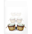 Bongo Drum with Sticks on White Background vector image vector image