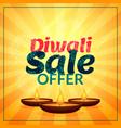 diwali sale offer with three diya vector image