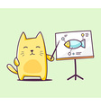color character cat with pointer on green vector image