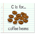 Flashcard letter C is for coffee beans vector image