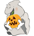 Ghost and a pumpkin cartoon vector image