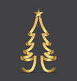 golden ribbon christmas tree and stars vector image