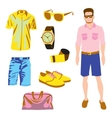 Hipster character pack for geek boy with accessory vector image