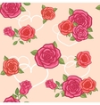 Seamless background with roses and hearts vector image