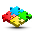 Puzzle Logo Design Colorful Jigsaw 3D Abst vector image vector image