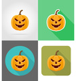 pumpkins for halloween flat icons 12 vector image
