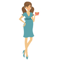 Chic preggy with gift box vector image vector image