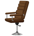 Arm chair with brown leather vector image vector image