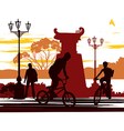 two cyclists vector image