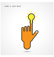 Creative light bulb and hand icon abstract logo vector image