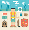 Flat Icons Set of Travel Holiday vector image