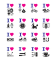 Funny love icon set vector image
