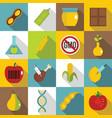 gmo icons set food flat style vector image