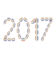 New Year 2017 made in rainbow colors vector image