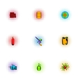Outfit paintball icons set pop-art style vector image