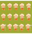 Set of gardener women flat icons3 vector image