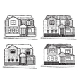 Sketch collection of village buildings vector image