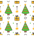 Seamless pattern with christmas trees gift boxes vector image