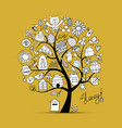 honey apiary art tree sketch for your design vector image vector image