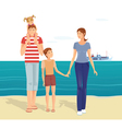 Happy family on the beach vector image