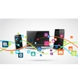 Tablet computer and mobile phones with colorful vector image vector image
