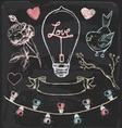 Hand Drawn Chalk Romantic Elements Set vector image
