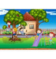 Children playing slide in the playground vector image