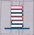 books in flat design style on textured wo vector image