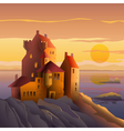 Castle on the coast at sunset vector image