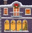 Hand-drawn Christmas background with windows at vector image