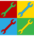 Pop art spanner icons vector image
