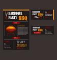 set of of a bbq menu template vector image