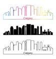 Calgary V2 skyline linear style with rainbow vector image