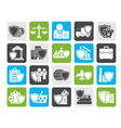 Silhouette Business and industrial insurance icons vector image vector image