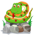cute snake cartoon on the stone vector image
