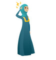 muslim business woman with lightning over head vector image