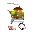 Cart with house for real estate industry vector image