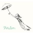 Drawn girl balloons freedom concept vector image