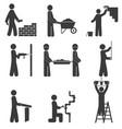 construction icons renovation plumbing vector image
