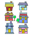 Doodle of house various cartoon design vector image