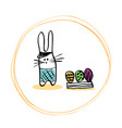 funny easter bunny in the hat shorts and a box of vector image