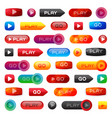 go and play buttons media player internet website vector image
